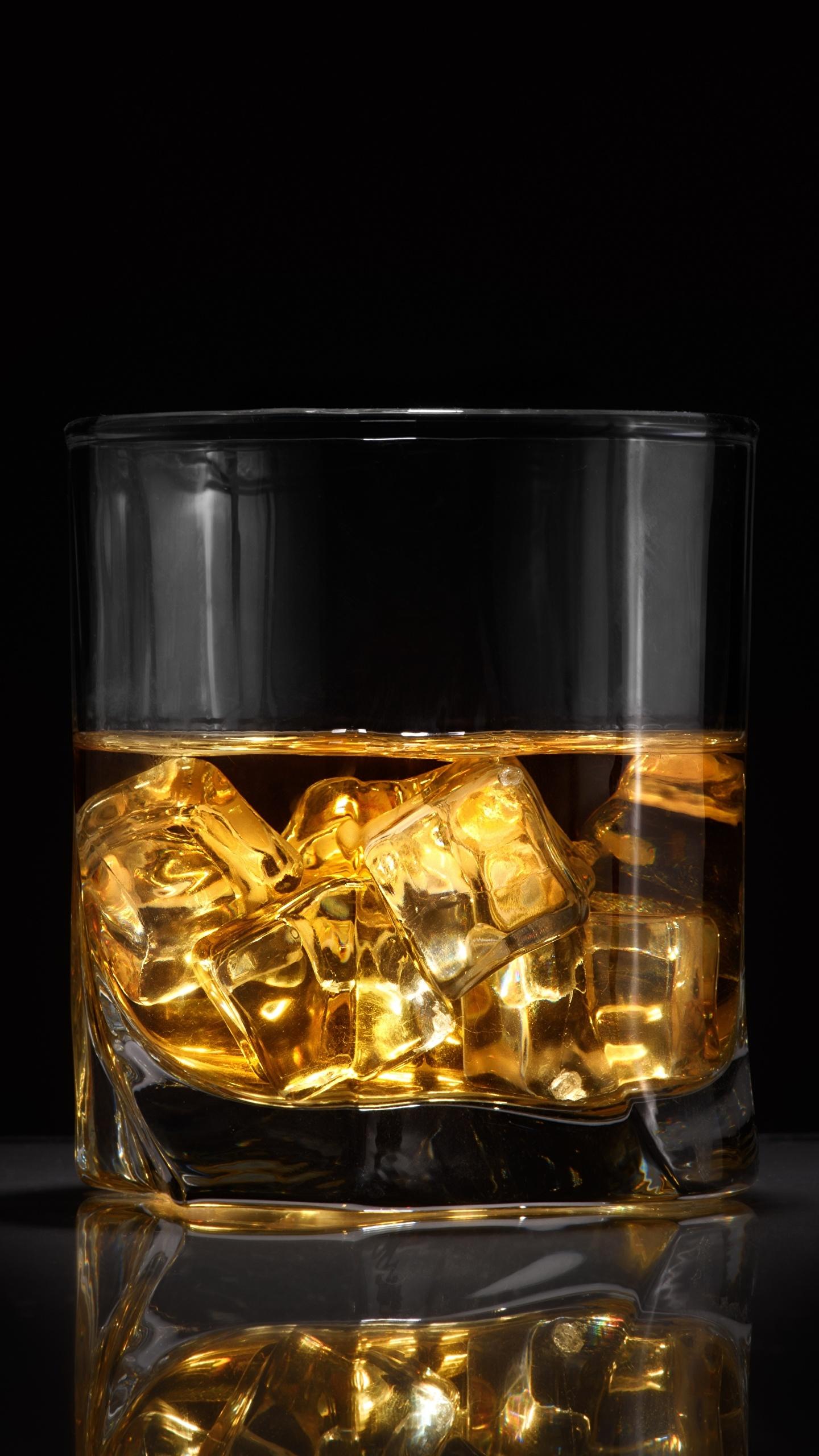 Картинка Лед Виски Стакан Продукты питания 1440x2560 Еда Пища