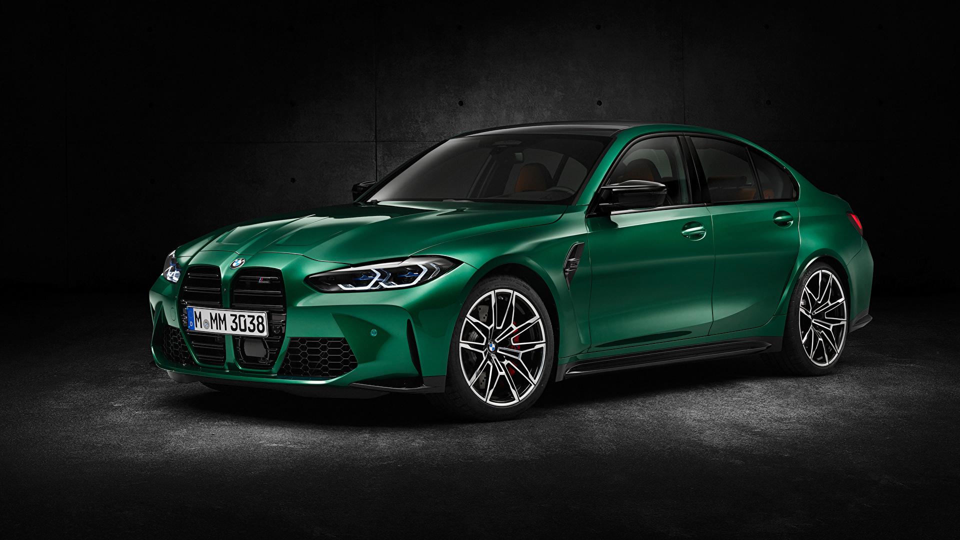 Фотография BMW M3 Competition, (G80), 2020 Зеленый Металлик Автомобили 1920x1080 БМВ зеленая зеленые зеленых авто машины машина автомобиль