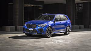 Картинка BMW Кроссовер Синяя 2020 X5 M Competition Автомобили