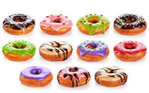 Картинка Пончики Шоколад Белый фон Разноцветные Пища