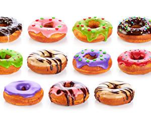 Картинка Пончики Шоколад Белый фон Разноцветные
