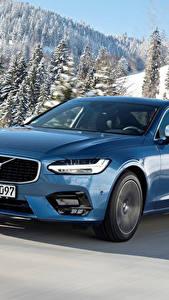 Фото Volvo Голубой Металлик Движение 2016-17 S90 T5 R-Design Worldwide Автомобили