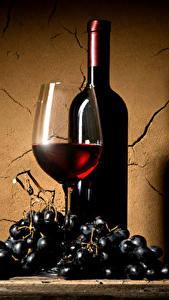 Обои Вино Виноград Стенка Бокалы Бутылки Еда