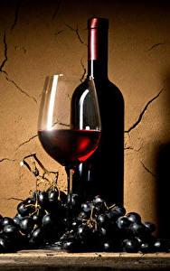 Обои Вино Виноград Стенка Бокалы Бутылка