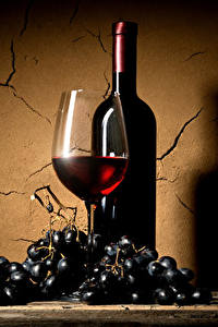 Обои Вино Виноград Стенка Бокалы Бутылка Пища
