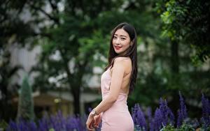 Обои Азиаты Размытый фон Платье Улыбка Брюнетки молодая женщина
