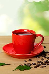 Обои Кофе Чашке Зерна Листья Пища