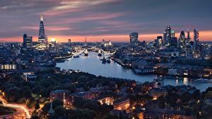 Фото Англия Речка Дома Вечер Лондон