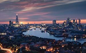 Фото Англия Речка Дома Вечер Лондоне