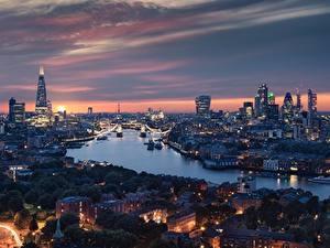 Фото Англия Речка Дома Вечер Лондоне Города
