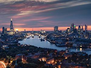 Фото Англия Река Дома Вечер Лондоне город