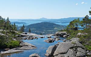 Фотография Норвегия Побережье Камень Залива Холмов Husnes