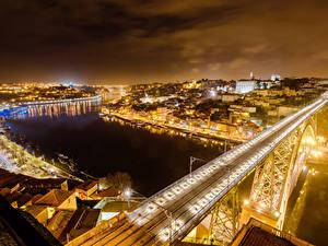Обои Португалия Дома Реки Мосты Портус Кале Ночные Города