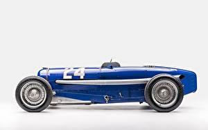 Картинка Винтаж BUGATTI Синий Серый фон Classic Grand Prix 1933 Type 59 Grand Prix Машины