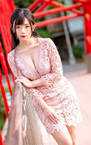 Фотография Азиатка Позирует Платья Вырез на платье Смотрит Размытый фон молодые женщины
