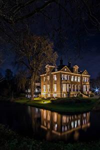 Фотография Голландия Здания Река Роттердам Ночь Деревьев