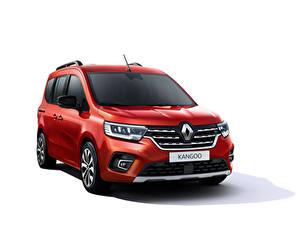 Картинка Renault Минивэн Красные Металлик Белом фоне Kangoo, 2021 машины