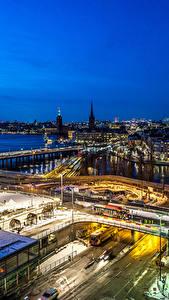 Фотография Стокгольм Швеция Здания Реки Дороги Ночь Сверху город
