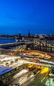 Фотография Стокгольм Швеция Здания Реки Дороги Ночь Сверху Города