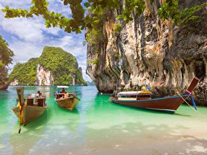 Картинки Таиланд Тропики Лодки Заливы Утес Krabi