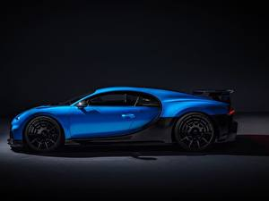 Обои для рабочего стола BUGATTI Сбоку Синих Металлик Chiron, 2020, Pur Sport Автомобили