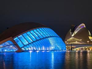 Фотографии Испания Ночные Valencia, Ciudad de las Artes y las Ciencias Города