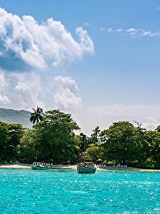 Картинка Тропики Берег Море Небо Облака Mahe island Seychelles
