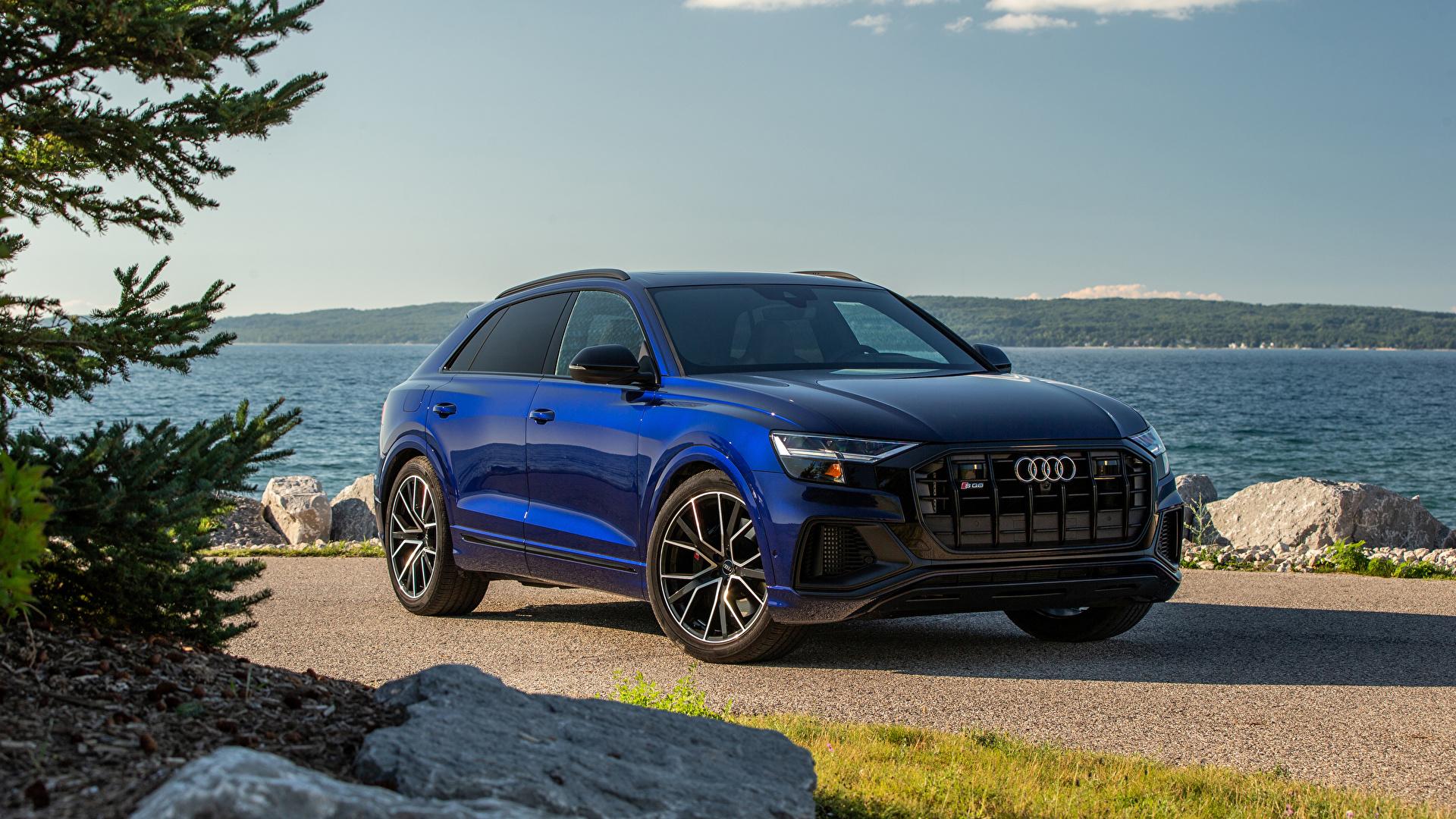 Фотографии Ауди CUV SQ8 TFSI, North America, 2020 синяя авто Металлик 1920x1080 Audi Кроссовер Синий синие синих машина машины Автомобили автомобиль