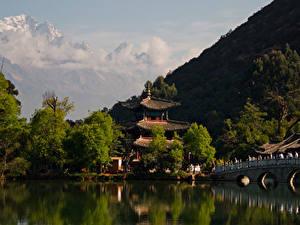 Картинки Китай Гора Реки Мосты Храм Дерево Lijiang