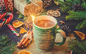 Фотография Рождество Горячий шоколад Корица Сладости Чашка Бенгальские огни Пища