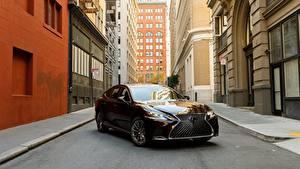Картинки Lexus Бордовый Металлик 2018 LS 500h AWD Автомобили