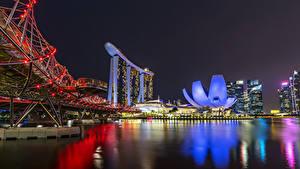 Фотография Сингапур Дома Мосты Залив Ночью Гирлянда Города