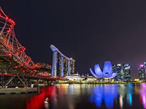 Фотография Сингапур Дома Мосты Залив Ночью Гирлянда