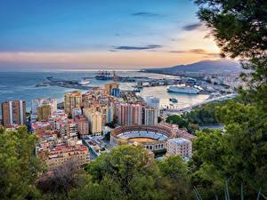 Фотографии Испания Дома Пристань Ветка Malaga Города