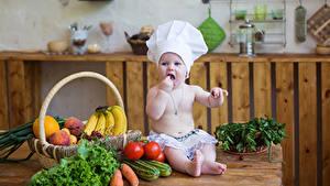 Фото Овощи Фрукты Доски Младенца Повар Шапка Еда