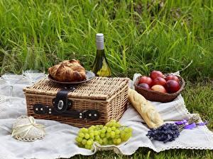 Картинка Вино Фрукты Хлеб Бокалы Пикнике Продукты питания