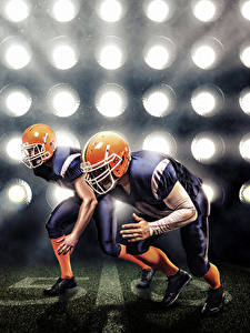Картинка Американский футбол Двое Униформа Шлем Спорт