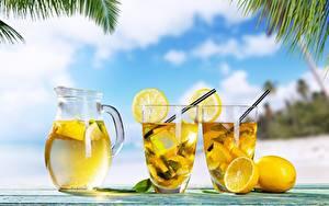 Картинка Лимонад Лимоны Стакана Кувшин Пища