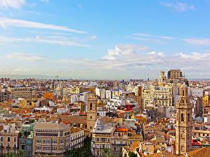 Картинка Испания Дома Крыше Valencia город