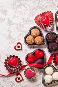 Фотография День святого Валентина Сладости Конфеты Сердце Ленточка Продукты питания