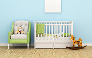 Картинки Интерьер Детская комната Игрушки Дизайн Кровать Кресло