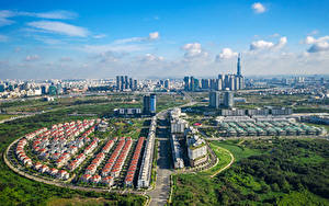 Фото Вьетнам Здания Дороги Сверху Ho Chi Minh Города