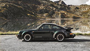 Фотографии Порше Черная Металлик Сбоку 1977-89 911 Turbo 3.3 Coupe (930) машины