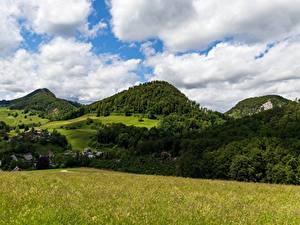 Фото Горы Лес Швейцария Пейзаж Траве Canton of Basel-Landschaft