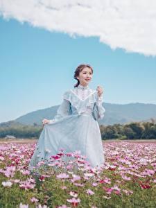 Картинки Луга Космея Азиаты Шатенка Платье Рука молодая женщина