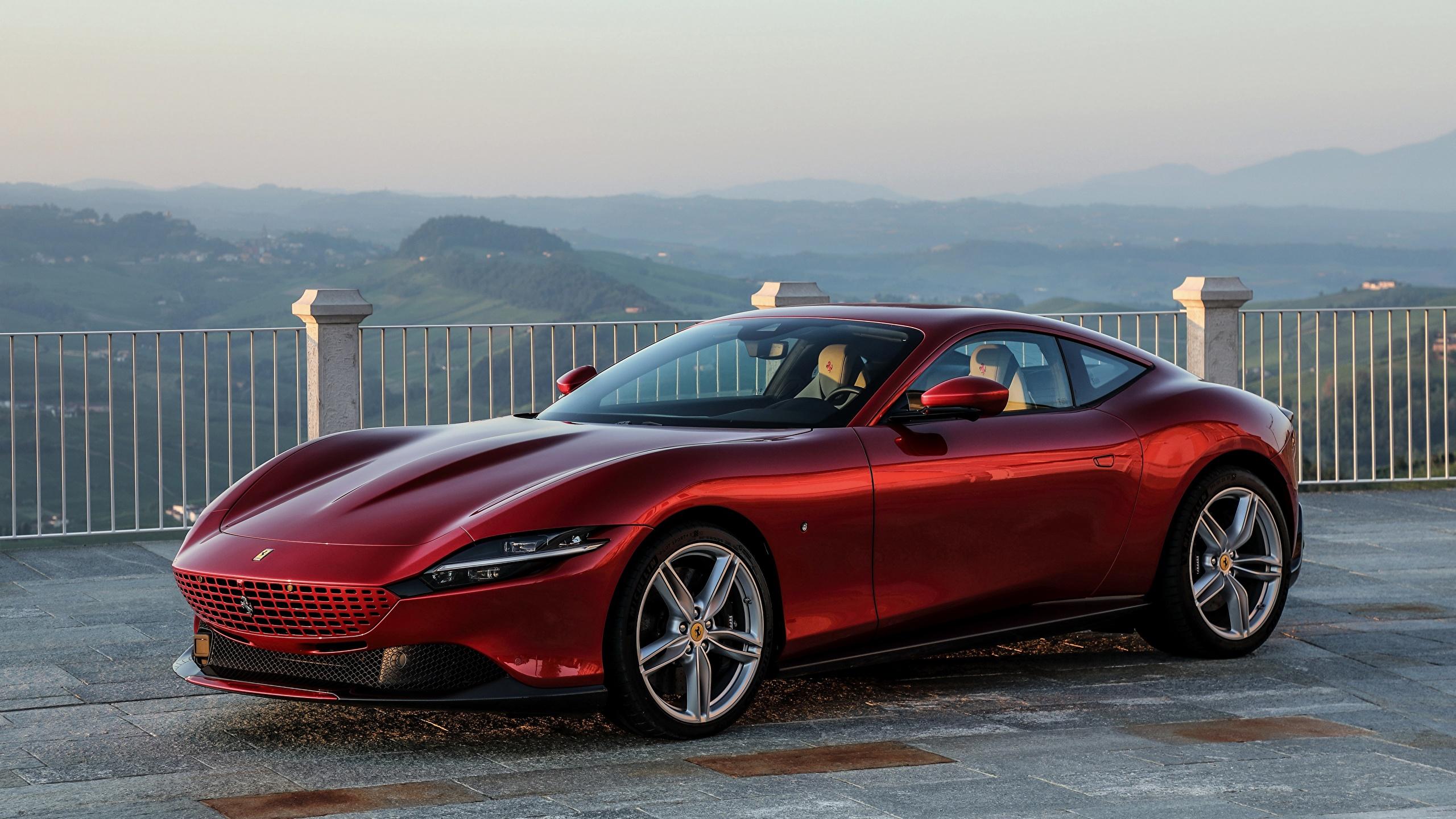 Фотография Ferrari Roma, 2020 Купе бордовая Металлик Автомобили 2560x1440 Феррари Бордовый бордовые темно красный авто машины машина автомобиль