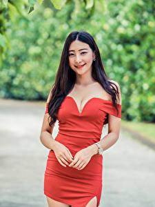 Картинки Азиаты Размытый фон Поза Платье Рука Вырез на платье Улыбается Брюнеток молодые женщины