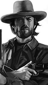 Картинка Пистолетом Clint Eastwood Рисованные Мужчины Черно белые Шляпе Борода Красивые Знаменитости
