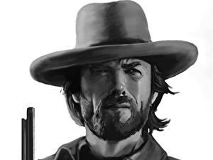 Картинка Пистолет Clint Eastwood Рисованные Мужчина Черно белые Шляпа Борода Красивые Знаменитости