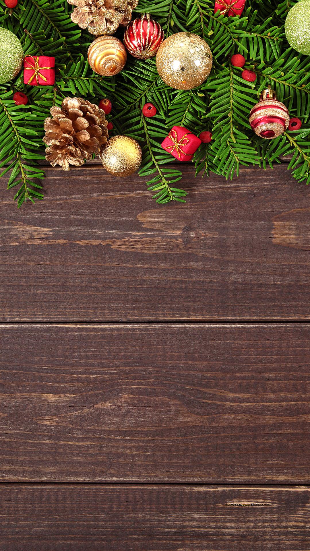 Картинка Рождество Шар шишка Доски 1080x1920 Новый год Шишки Шарики